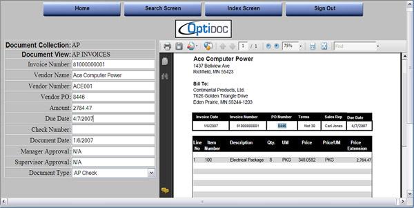 OptiDoc Revolutionary Enterprise Document Management Solutions - Invoice imaging software